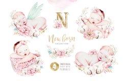 逗人喜爱的新出生的水彩婴孩 婴儿例证女孩和男孩绘画 婴儿送礼会被隔绝的生日绘画 库存例证