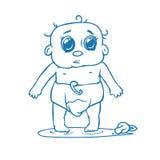 逗人喜爱的新出生的婴孩在尿布撒尿了 免版税图库摄影