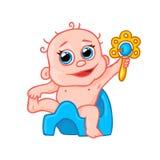 逗人喜爱的新出生的婴孩罐的和有吵闹声的 免版税库存图片