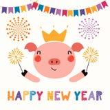 逗人喜爱的新年猪 向量例证