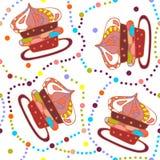 逗人喜爱的无缝的样式用明亮的杯形蛋糕和五颜六色的小点 免版税图库摄影