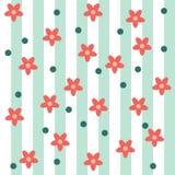 逗人喜爱的无缝的花卉样式开花与线和小点 免版税图库摄影