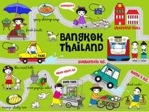 逗人喜爱的曼谷泰国指南地图例证集合 向量例证