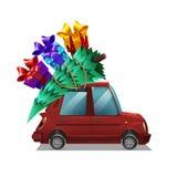 逗人喜爱的有圣诞树的动画片红色在白色背景隔绝的汽车和礼物 皇族释放例证