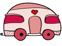 逗人喜爱的有蓬卡车例证 动画片桃红色有蓬卡车 免版税库存照片