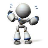 逗人喜爱的机器人将艰苦欢呼 3D例证, 库存图片
