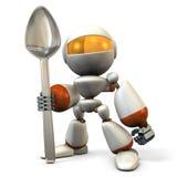 逗人喜爱的机器人有一把大匙子 图库摄影