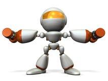 逗人喜爱的机器人,磨炼了与哑铃的身体 库存照片