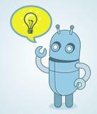 逗人喜爱的机器人-想法概念 免版税库存照片