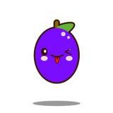 逗人喜爱的李子果子漫画人物象kawaii平的设计传染媒介 免版税库存照片