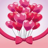 逗人喜爱的束桃红色气球心脏弓 图库摄影