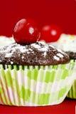 逗人喜爱的杯形蛋糕用酒浸樱桃 库存照片