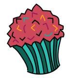 逗人喜爱的杯形蛋糕,传染媒介例证 库存图片