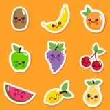 逗人喜爱的果子字符贴纸集合 库存照片