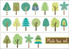逗人喜爱的树集合 免版税库存照片