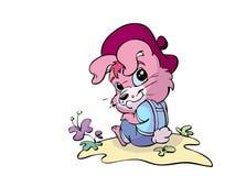 逗人喜爱的桃红色兔子 库存例证