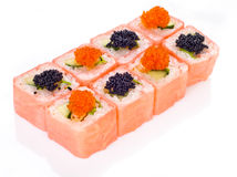 逗人喜爱的桃红色寿司卷 免版税库存照片
