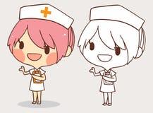 逗人喜爱的桃红色护士彩图线艺术动画片传染媒介 皇族释放例证