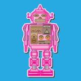 逗人喜爱的桃红色机器人传染媒介设计 免版税库存照片