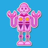 逗人喜爱的桃红色机器人传染媒介设计 库存照片