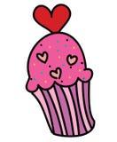 逗人喜爱的桃红色杯形蛋糕,传染媒介例证 库存图片