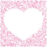 逗人喜爱的桃红色框架的情人节 在心脏装饰品外面的心形 在白色背景的被隔绝的编辑可能的传染媒介剪贴美术 向量例证