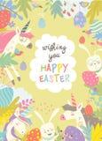 逗人喜爱的框架组成由复活节兔子、独角兽和复活节彩蛋 免版税图库摄影