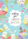 逗人喜爱的框架组成由复活节兔子和复活节彩蛋 图库摄影