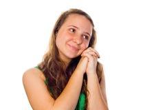 逗人喜爱的梦想的女孩 免版税库存图片