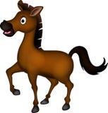 逗人喜爱的棕色马动画片 免版税图库摄影