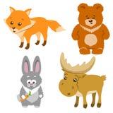 逗人喜爱的森林动物动画片样式 也corel凹道例证向量 免版税库存图片