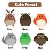 逗人喜爱的森林动物野生生物集合 孩子称呼,被隔绝的设计元素,例证 免版税库存图片