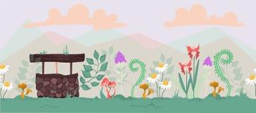 逗人喜爱的植物的风景集合 免版税库存图片
