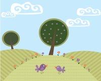 逗人喜爱的横向1结构树和2只鸟 免版税库存照片