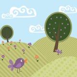 逗人喜爱的横向2结构树和鸟 免版税库存图片
