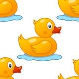 逗人喜爱的橡胶鸭子无缝的样式 库存图片