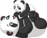 逗人喜爱的母亲和小熊猫 库存照片