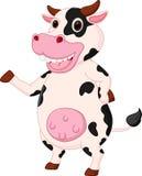 逗人喜爱的母牛动画片挥动的手 免版税库存图片