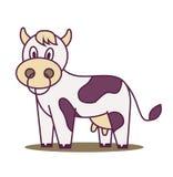 逗人喜爱的母牛站立 向量例证