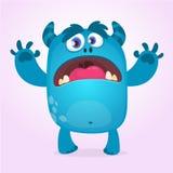 逗人喜爱的毛茸的蓝色妖怪 传染媒介巨足兽或拖钓字符吉祥人 儿童图书的设计 库存例证