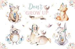逗人喜爱的水彩漂泊婴孩动画片幼儿园的兔子和熊动物,森林地鹿、狐狸和猫头鹰托儿所 库存例证