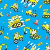 逗人喜爱的汽车动画片无缝的样式有蓝色背景 皇族释放例证