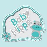 逗人喜爱的河马男孩微笑动画片例证适用于婴儿送礼会卡片设计 免版税库存图片