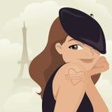 逗人喜爱的法国向量妇女 免版税库存照片