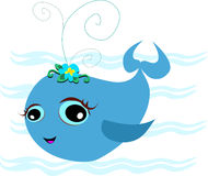 逗人喜爱的浅蓝色鲸鱼 图库摄影