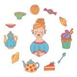 逗人喜爱的浪漫女孩茶咖啡甜点乱画传染媒介集合 免版税库存图片