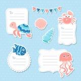逗人喜爱的海洋动物贺卡标记和贴纸 免版税图库摄影