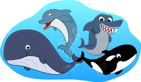 逗人喜爱的海洋动物集 库存图片
