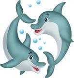 逗人喜爱的海豚夫妇动画片 库存例证