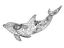 逗人喜爱的海豚 成人antistress着色页 免版税库存图片